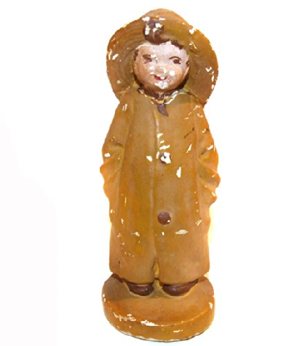 Old Distressed Little Boy in Rain Coat Slicker Chalkware Figure