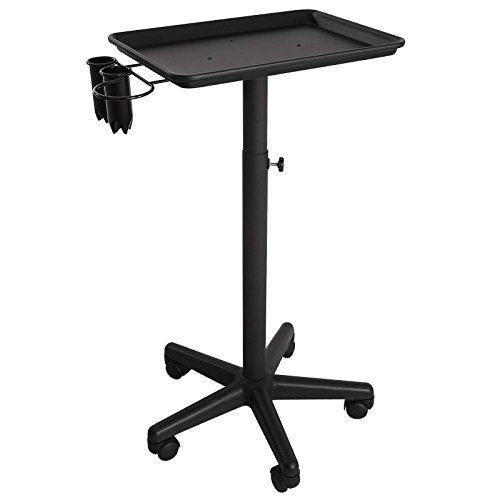 - Saloniture Premium Aluminum Instrument Tray with Accessory Caddy - Black
