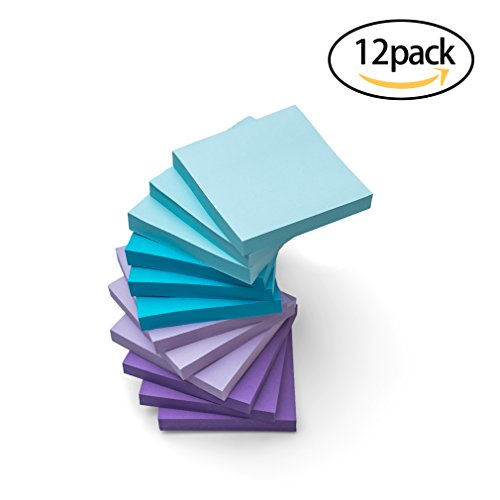 Watercolor Sticky Notes 12 Pack 3'' X 3'' 100 Sheets Self Stick Notes Easy to (Purple Post)