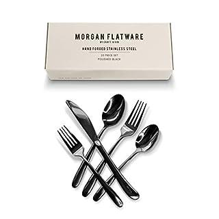 Craft & Kin Flatware Set, Hand-Forged Black Silverware Set, Classic Heirloom Luxury Black Flatware   Premium Quality Pure Stainless Steel Cutlery Set, Mirror Polished Dinnerware Set (20-pc, Set for 4)