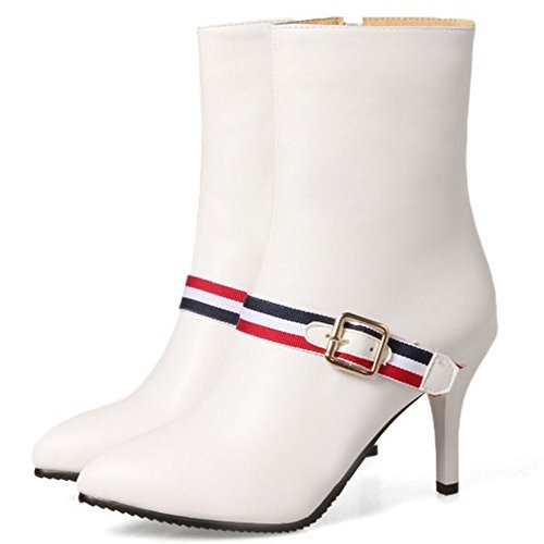 COOLCEPT Damen Mode-Event Stiletto Zipper Halbschaft Herbststiefel White