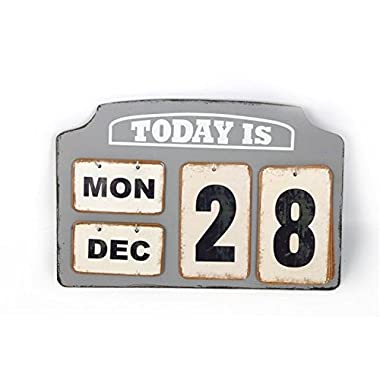 Wooden & Metal Tags Desk Top Calendar Vintage Style Day Date Month Retro Home Gift
