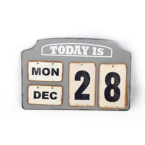In Legno & Metallo Targhette Piano Scrivania Calendario Vintage Stile Giorno Data Mese Rétro Regalo Casa SIL