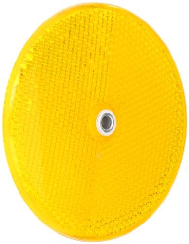 Tapco RT-90 Plastic Centermount Reflector with Aluminum Grommet, 3-1/4 Diameter x 3/8 Thick, Amber
