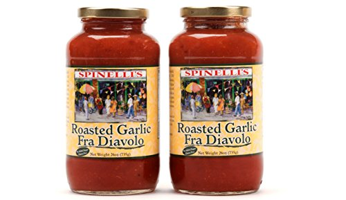 Best Tomato Flavor (Spinelli's Gourmet Pasta Sauce Kit (2 JARS-Spicy Roasted Garlic fra Diavolo) All natural, Healthy, No Preservatives, Gluten Free, Vegan, Best Authentic Italian, No Added Sugar, Ripe Real Tomatoes)