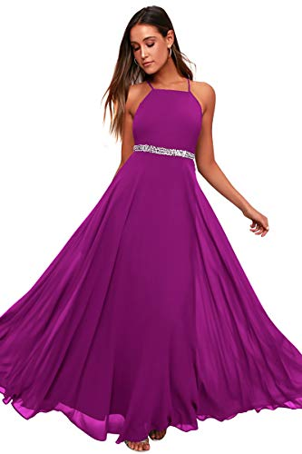 Women's Adjustable Spaghetti Straps Beaded Criss-Cross Open Back Tulle Sexy Formal Ball Evening Gown Long Dress (Purple688,XXLarge) ()