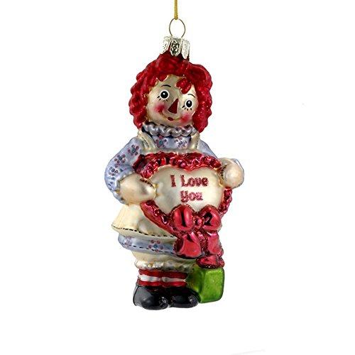 Doll Glass Ornament (Kurt Adler Glass Raggedy Ann Heart Ornament, 5-Inch)