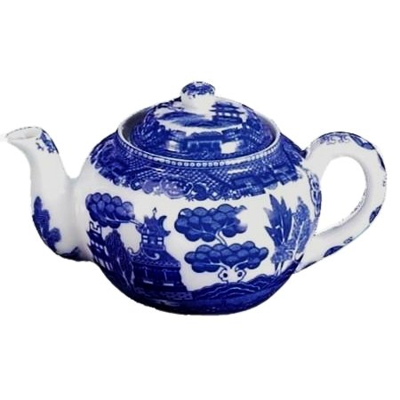 HIC Blue Willow Teapot, Fine White Porcelain, 6-Cup, 32-O...
