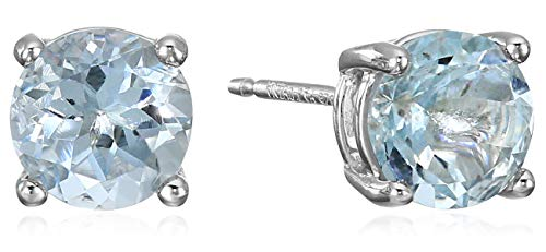 Amazon Essentials Sterling Silver Round Aquamarine Birthstone Stud Earrings (March)