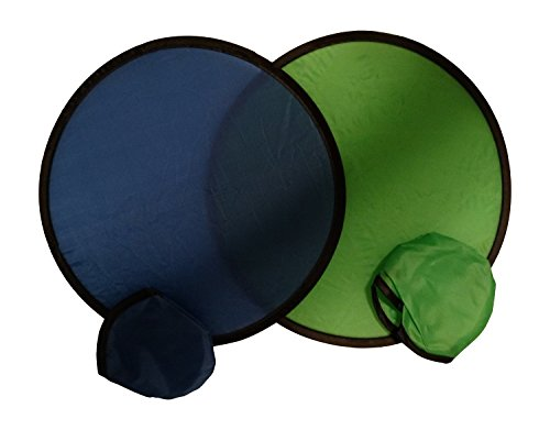 BZANY Blue And Green Toy Pocket Fan Flying Disc With Pouch (Disc Fan)