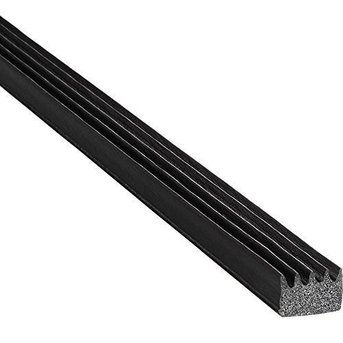 (Trim-Lok Ribbed Rectangle Rubber Seal - EPDM Foam Rubber Seal with High Tack (HT) Adhesive - Door & Window Weather Seal for Garage Doors, Automobiles, Boats - .375