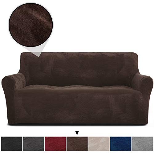 RHF Velvet-Sofa Slipcover, Stretch Couch Covers for 3 Cushion Couch-Couch Covers for Sofa-Sofa Covers for Living Room,Couch Covers for Dogs, Sofa Slipcover,Couch slipcover(Chocolate-Sofa)