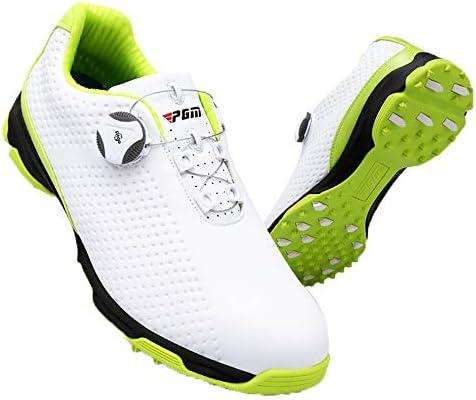 メンズゴルフシューズスポーツシューズ、アンチスキッドスパイクスニーカーマイクロファイバーレザー防水靴、バックル靴紐を回転させます装着して離陸靴