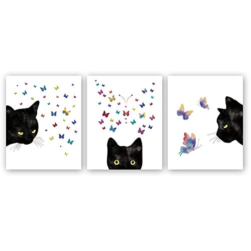 Kairne Black Cat with Colorful Butterfly Art Print,Set of 3(8