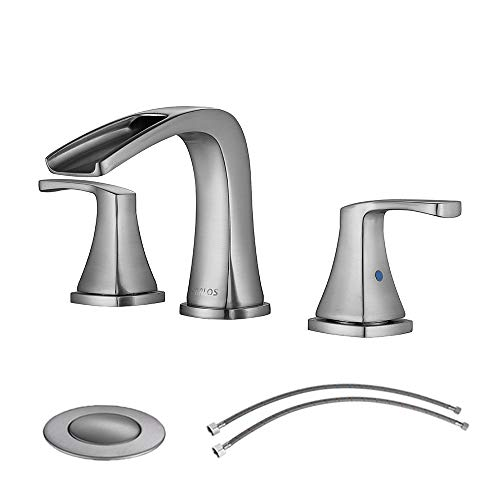 (PARLOS Waterfall Widespread Bathroom Faucet Double Handles with Pop Up Drain & cUPC Faucet Supply Lines, Brushed Nickel, Doris 14070)