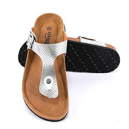 (Seranoma Women's Thong Cork Sandal | Open Toe Slide | Flat Footbed)