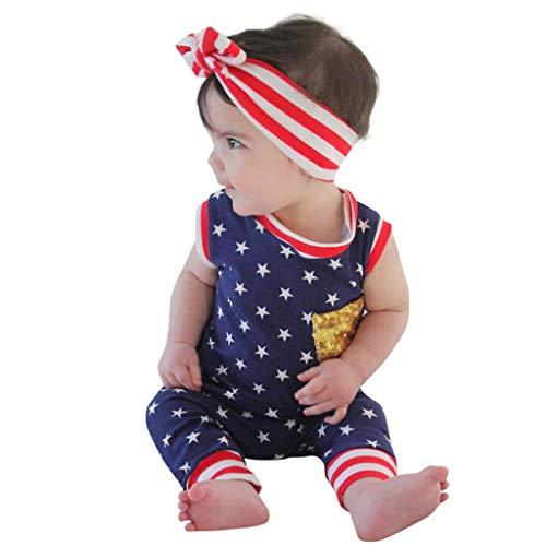 Unisex Baby Clothes 4th of July Sleeveless Bodysuit Patriotic Romper Jumpsuit with Headband Onesies for Baby Boys Girsl Red