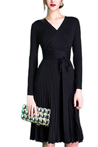 Elegante Vestidos Otoño Fasumava Black De Plisada Punto Vestido Midi Larga De Las De Manga Mujeres 7g7fw