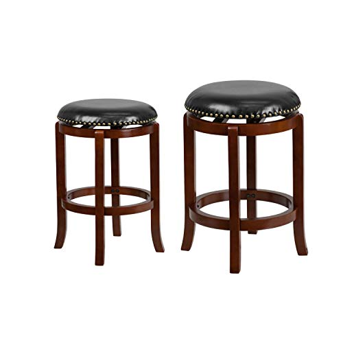 (Flash Furniture 24'' High Backless Light Cherry Wood Counter Height Stool and 29'' High Backless Barstool with Black Leather Swivel Seat)