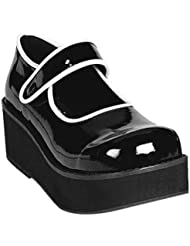 Summitfashions 2 1/4 Inch Platform Black Mary Janes GOTH Shoes White Piping Sexy Shoes