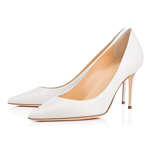 EDEFS Damen Comfort Basic Pumps,Klassische Damen Pumps,80mm Stilettos Büroschuhe Hochzeit Abendschuhe White