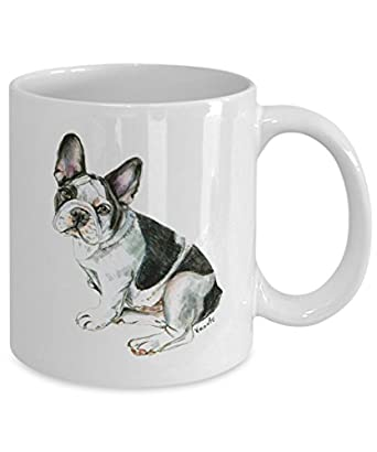 Black and White French Bulldog Mug - Style No.6 - Cute Ceramic Frenchie Coffee Cup (11oz)