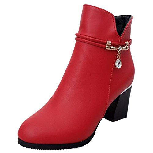 Binying Women's Round-Toe Block Heel Zip Metal Ankle Boots Red