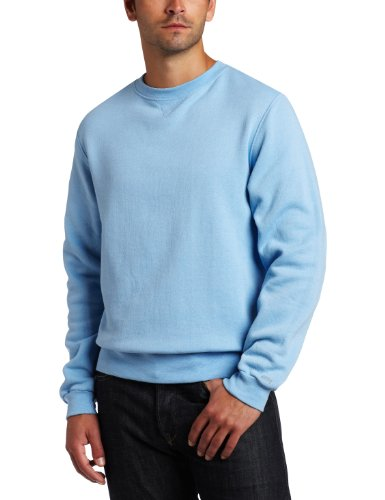 Soffe Men's Training Fleece Crew Sweatshirt, Light Blue, Medium