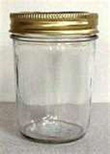 CASE OF 12 WITH GOLD LIDS 8 OZ SMOOTH SIDED JELLY JARS CANDLE MAKING SUPPLIES