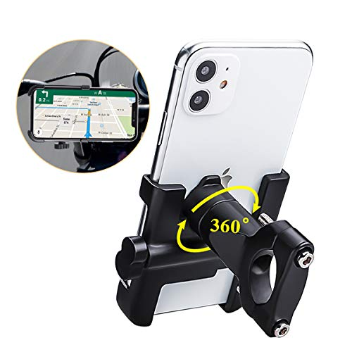 Spritech-Bike-Phone-Mount-Bike-Motorcycle-Phone-Holder-Alloy-Handlebar-Rack-Fits-iPhone-X-XR-8-7-6-Plus-Galaxy-S10-S8-S7-Plus-All-24-39-Wide-Electronic-Device-for-Cycling-GPSMapTimeMusic