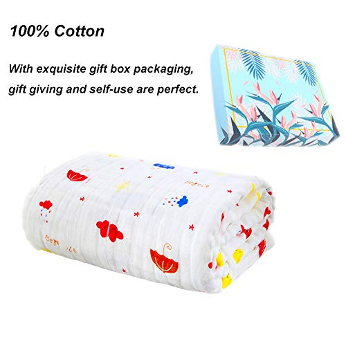 L&Z Baby Towel - Baby Gauze Bath Towel for Kids Girls Or Boys, Keep Dry& Warm-Antibacterial,Hypoallergenic-Perfect Shower 6 Layers of Cute Printed Water Gauze Towel for 0-6 Year-Old Babies -