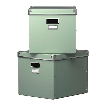 IKEA KASSETT cajas con tapa verde; 2 pcs; (33 x 38 x 30