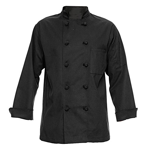 350 Chef Apparel 10 Knot Button Chef Coat-Easy-Care Twill - Black, Large