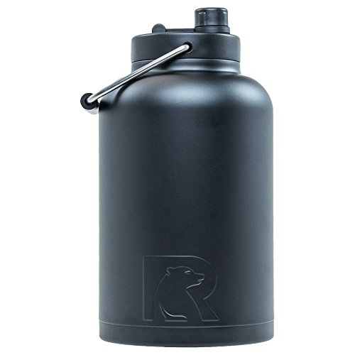 RTIC Double Wall Vacuum Insulated Stainless Steel Jug (Black, One Gallon) - Black Jug
