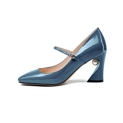 zh3371 JIEEME Tira Mujer de Charol Tobillo de Azul R7xxwq8p