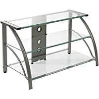 Calico Designs 60626 Stilletto Clear Glass TV Stand, 37.25 by 18.5 by 22-Inch, Champagne