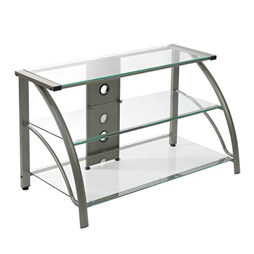 Design Metal Stand (Calico Designs 60626 Stilletto Clear Glass TV Stand, 37.25 by 18.5 by 22-Inch, Champagne)