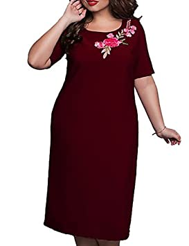 DESY Mujer Vaina Vestido Noche Fiesta/Cóctel Tallas Grandes Vintage,Floral Escote Redondo Midi