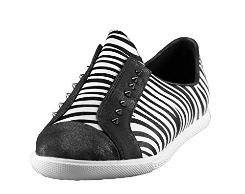 BF Sole Lady Zebra Print Spiky Studs Lady Sneakers Shoes Black MDe1m