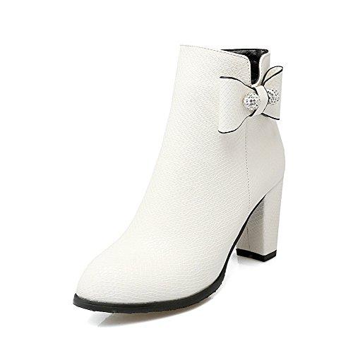 AllhqFashion Damen Hoher Absatz Weiches Material Reißverschluss Niedrig Spitze Stiefel, Weiß, 35