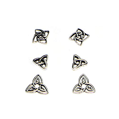 Celtic Earring - Sterling Silver Polished Celtic Trinity Knot 3 Pair Stud Earrings Box Set