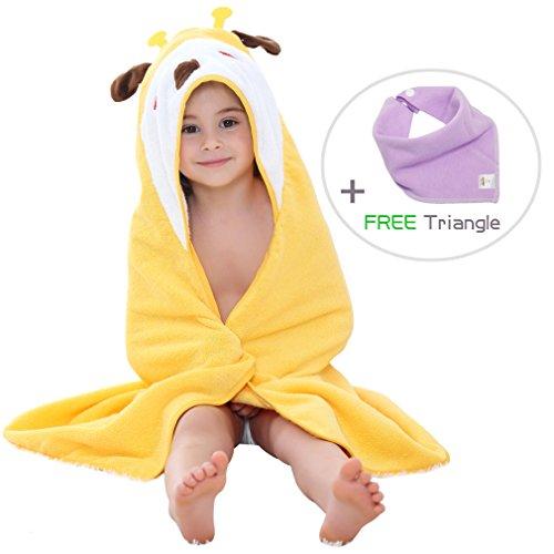 MICHLEY Animal Hooded Baby Towel Washcloth, Toddler Premium Cotton Absorbent Bathrobe for Girls Boys 0-6T (Giraffe)