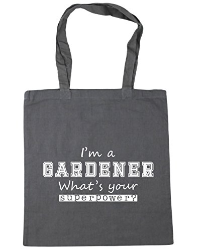 HippoWarehouse I'm a Gardener What's Your Superpower? Tote Shopping Gym Beach Bag 42cm x38cm, 10 litres Graphite Grey
