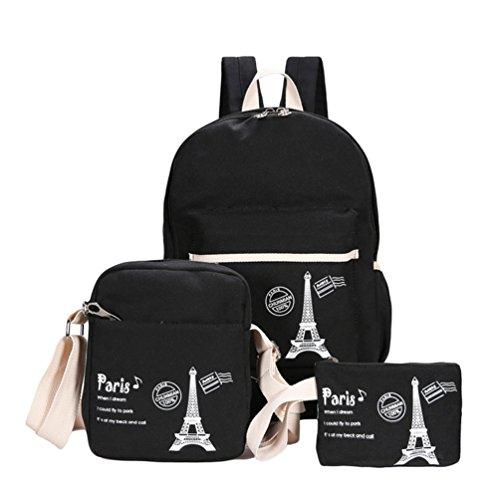 Xinwcang 3 Sets Canvas School Backpacks For Kids Girls, Teenagers Casual Backpack Laptop + Shoulder Bags Handbag + Black Free Air Travel