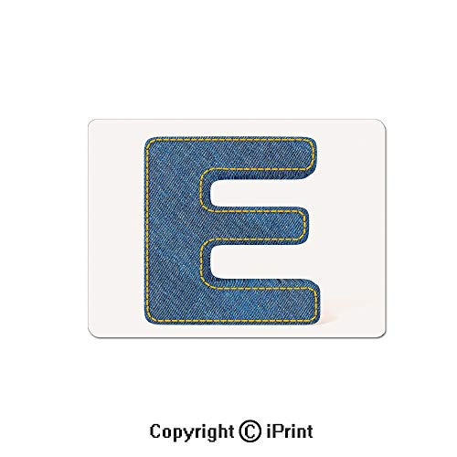 Anti-Slip Mouse Pad,Denim Blue Jeans Themed Symbol E from Alphabet ABC of Fabric Uppercase Letter Mouse Mat,Non-Slip Rubber Base Mousepad,7.9x9.5 inch,Blue Yellow