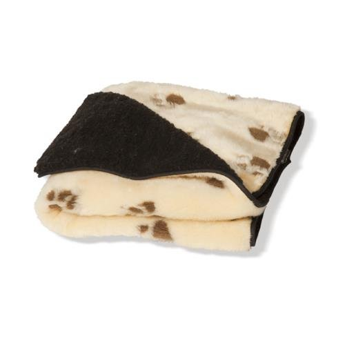 Danish Design Sherpa Fleece Beige Brown Paw Blanket Small 63x76cm