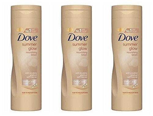 Dove, lozione auto-abbronzante nutriente Summer Glow per pelle delicate e medie, 250 ml, confezione da 3.