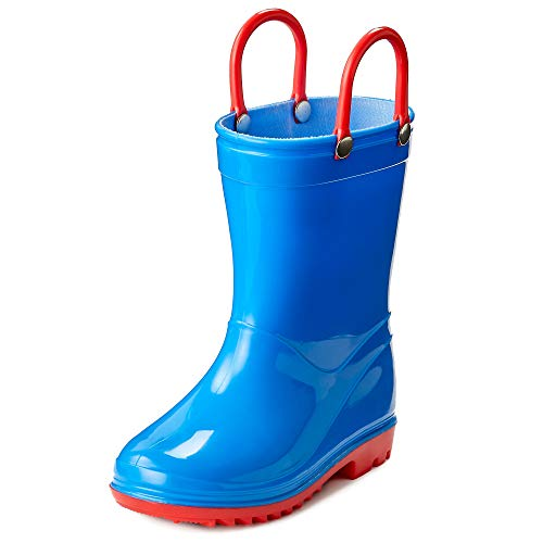 Puddle Play Toddler and Kids Waterproof Solid Rain Boots with Easy-On Handles - Size 13 Little Kid - Blue with Red Trimming GNR87552 -