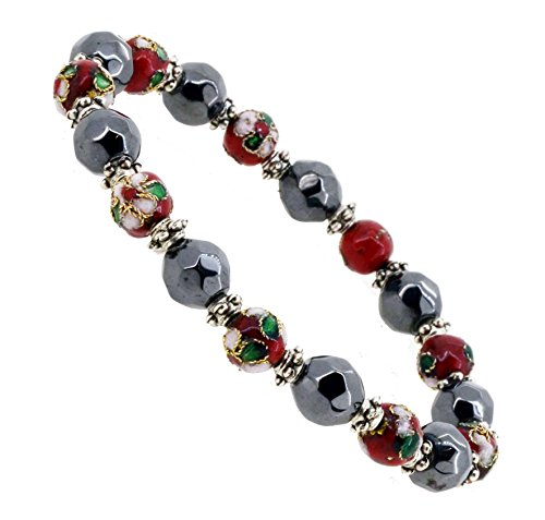 Faceted Stone Stretch Bracelet (Magnetic Simulated Black Faceted Hematite Stone Cloisonné Beaded Flower Stretch Bracelet (Red))
