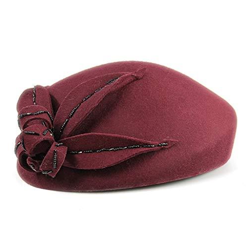 Moda Boina Red 57cm De Red Lana Fieltro Sombrero Con Nuevas color E Cuentas Otoño Tamaño Invierno Zdd Flores xTaqY4wA7